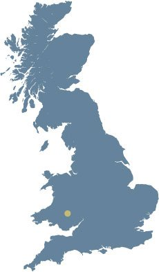 Map of the UK showing the location of The Bear in South Wales