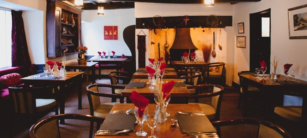The dining area at The West Arms, Llanarmon Dyffryn-Ceiriog