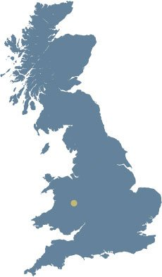 Map of the UK showing the location of The Castle Hotel in Shropshire