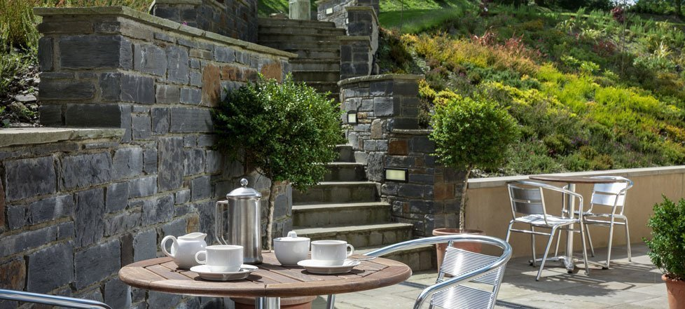 The garden terrace at at Y Talbot