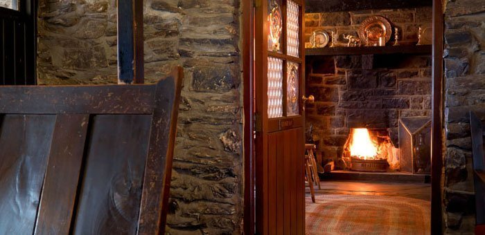 A roaring fire at Y Talbot