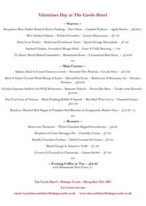 Valentine's Day Menu at The Castle Hotel