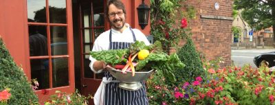 Stuart with fresh ingredients from the garden - Hundred House